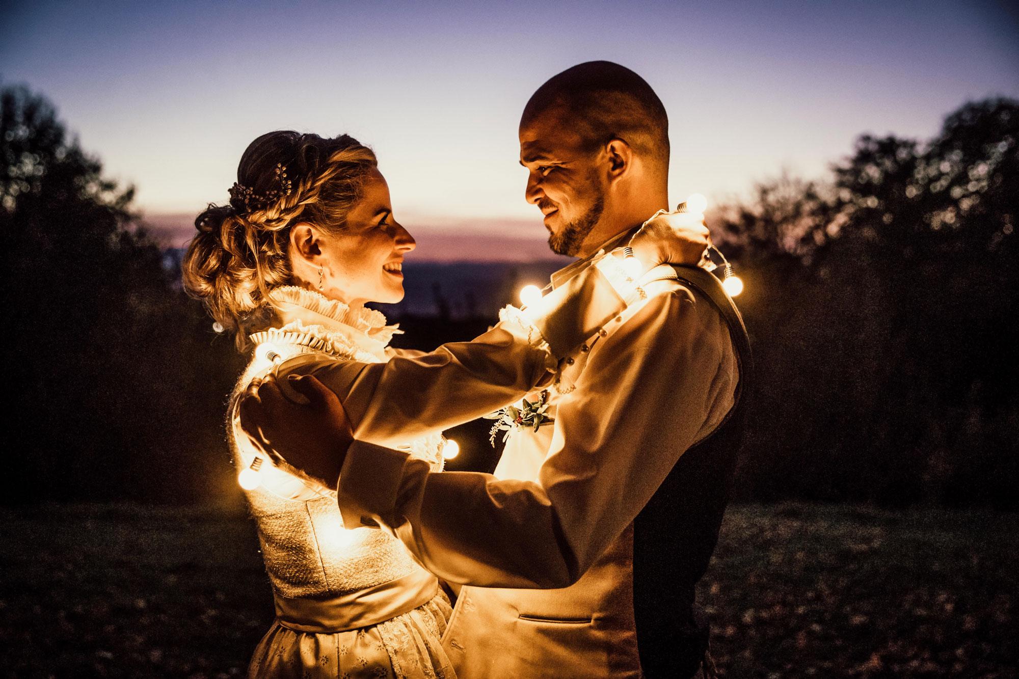 Hochzeitsfoto in der Nacht